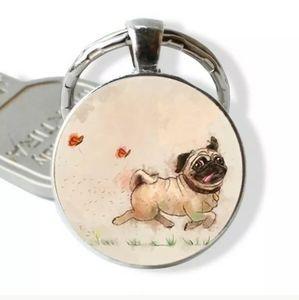 New Pug Love Silver Tone Keychain.